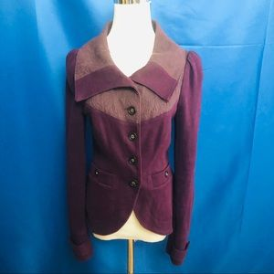 Free People purple knit and jacquard blazer size 6